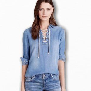 Anthro Cloth & Stone Lace Up Chambray Pullover Top